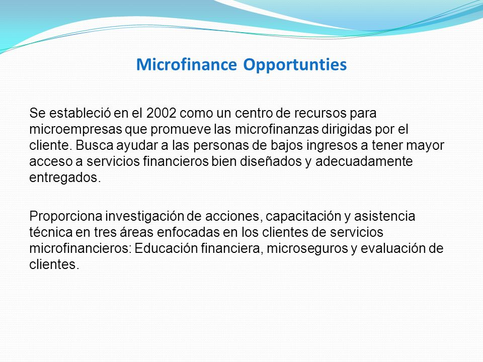 Microfinance Opportunties Se estableció en el 2002 como un centro de recursos para microempresas que promueve las microfinanzas dirigidas por el clien