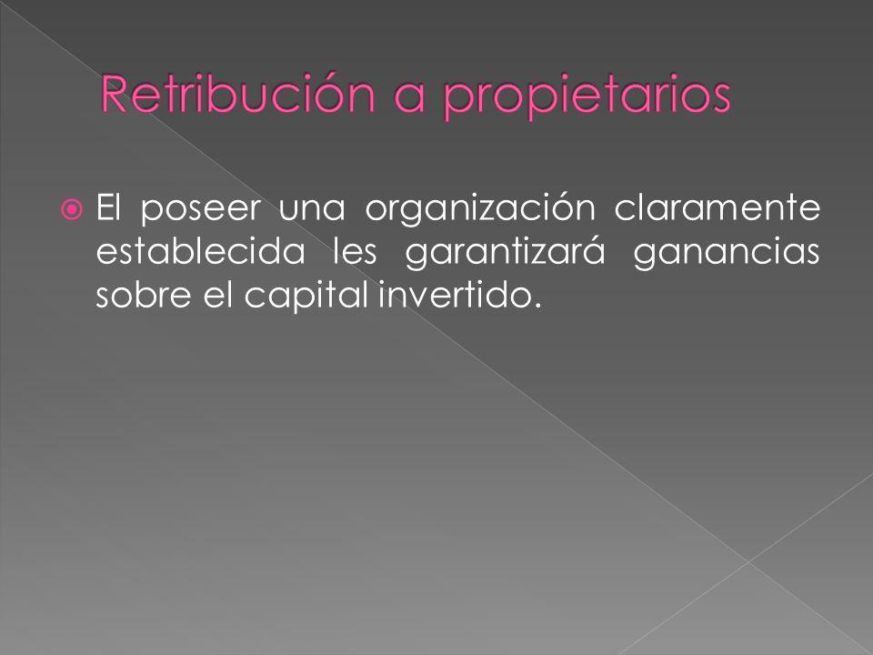 El poseer una organización claramente establecida les garantizará ganancias sobre el capital invertido.