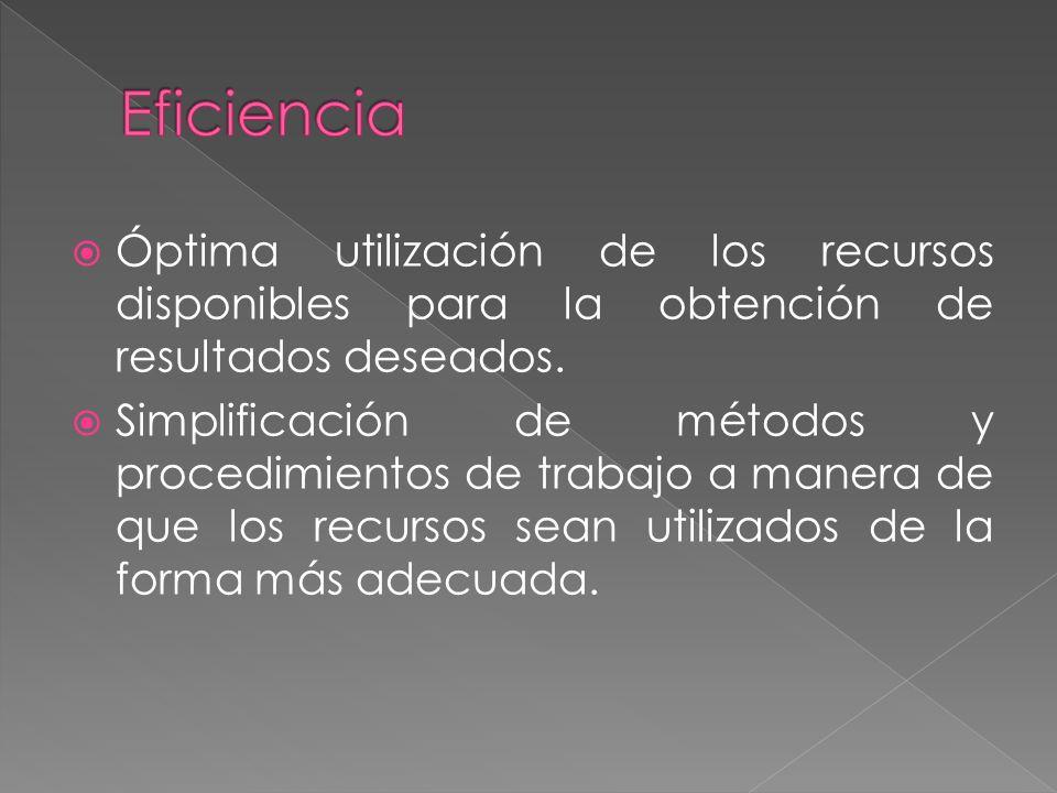 Óptima utilización de los recursos disponibles para la obtención de resultados deseados.