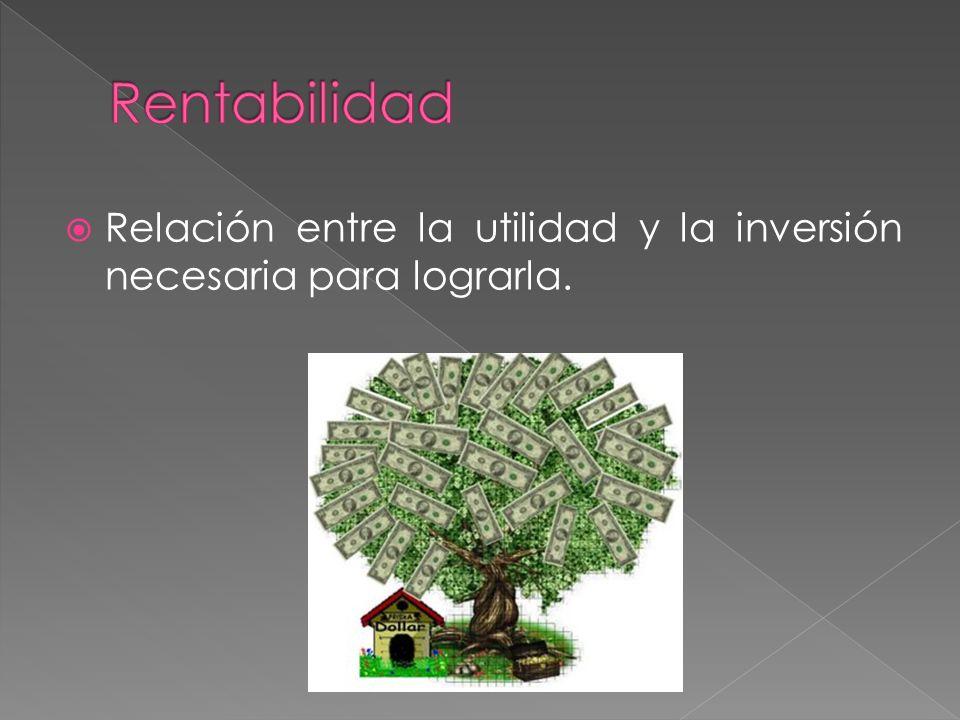Relación entre la utilidad y la inversión necesaria para lograrla.