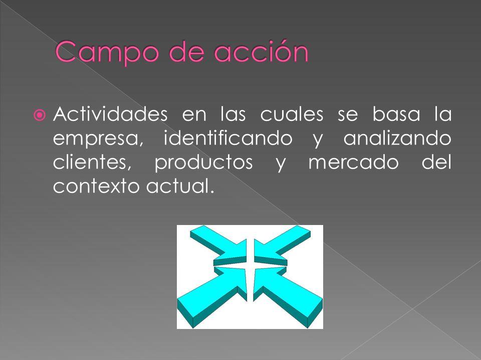 Actividades en las cuales se basa la empresa, identificando y analizando clientes, productos y mercado del contexto actual.
