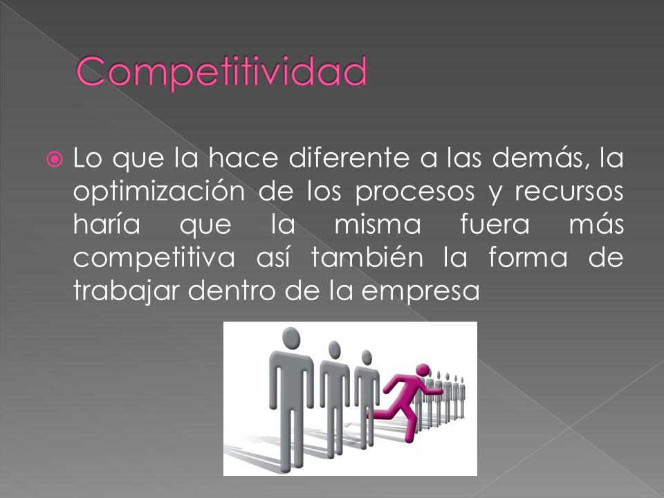 Lo que la hace diferente a las demás, la optimización de los procesos y recursos haría que la misma fuera más competitiva así también la forma de trabajar dentro de la empresa
