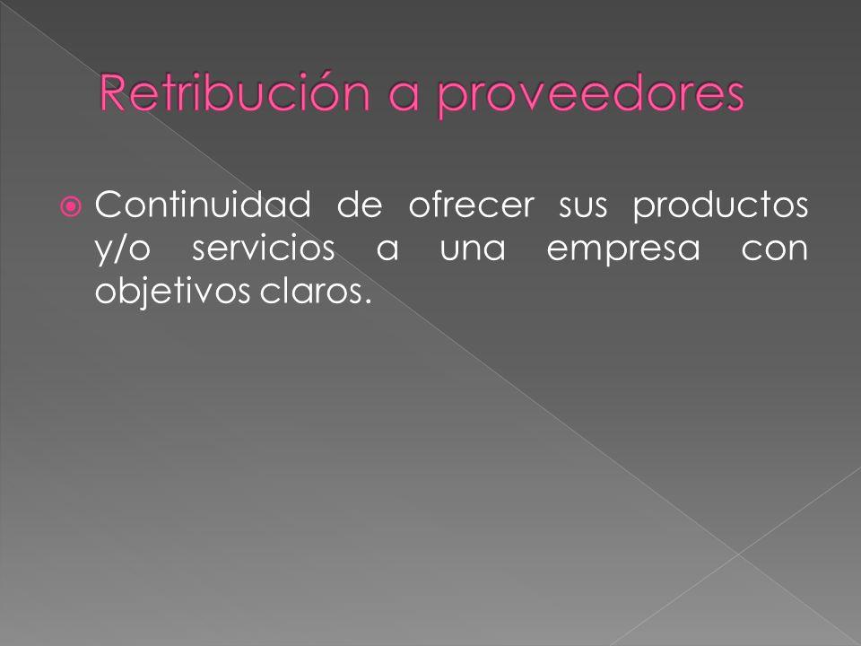 Continuidad de ofrecer sus productos y/o servicios a una empresa con objetivos claros.