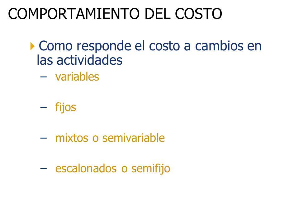 COMPORTAMIENTO DEL COSTO Como responde el costo a cambios en las actividades –variables –fijos –mixtos o semivariable –escalonados o semifijo
