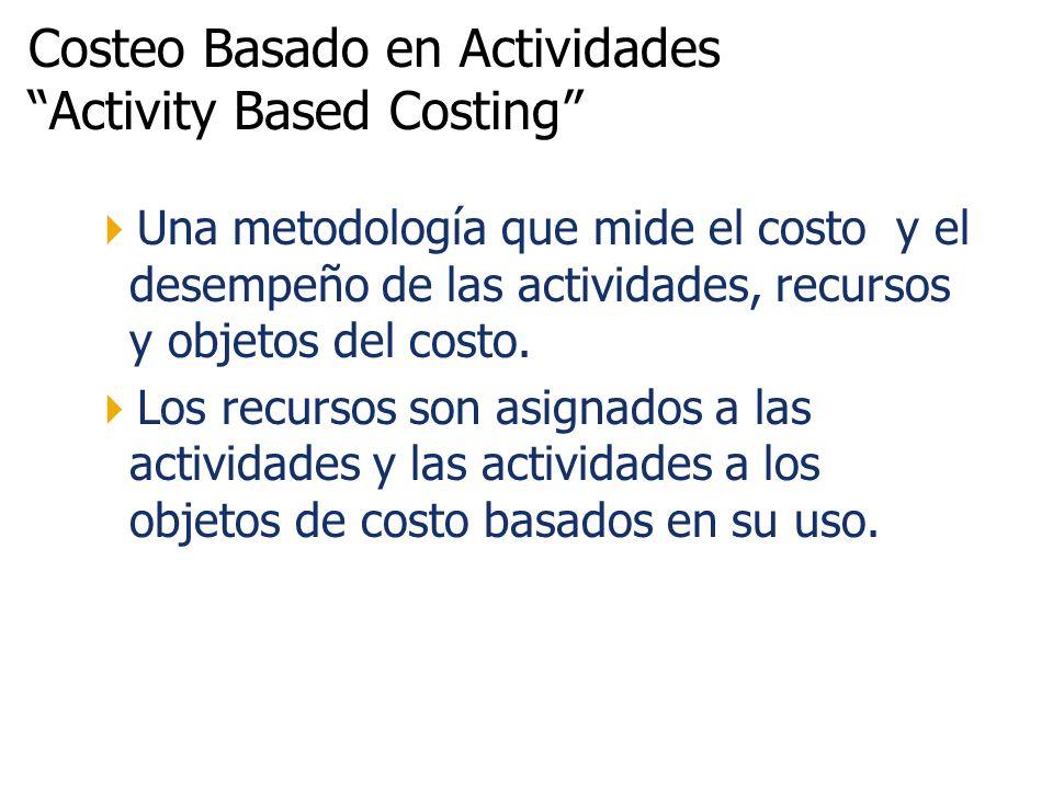 Costeo Basado en Actividades Activity Based Costing Una metodología que mide el costo y el desempeño de las actividades, recursos y objetos del costo.