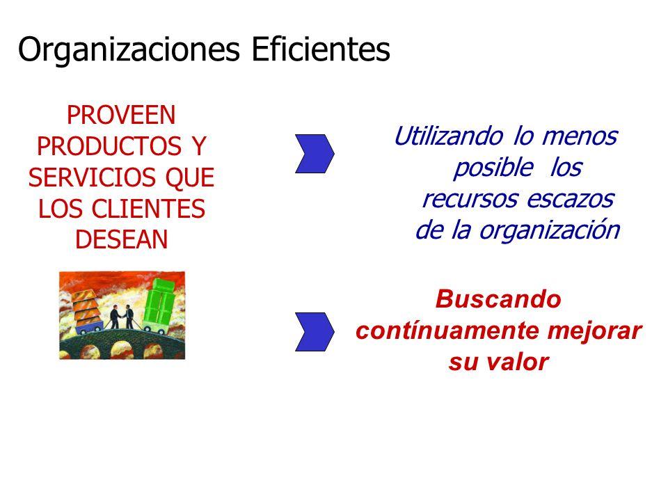 PROVEEN PRODUCTOS Y SERVICIOS QUE LOS CLIENTES DESEAN Utilizando lo menos posible los recursos escazos de la organización Buscando contínuamente mejor
