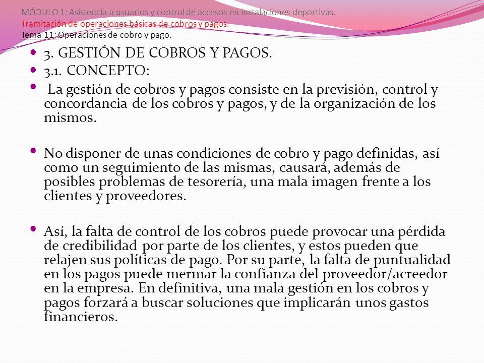 MÓDULO 1: Asistencia a usuarios y control de accesos en instalaciones deportivas. Tramitación de operaciones básicas de cobros y pagos. Tema 11: Opera