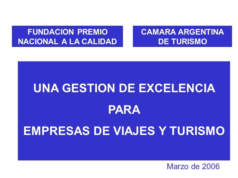FUNDACION PREMIO NACIONAL A LA CALIDAD CAMARA ARGENTINA DE TURISMO UNA GESTION DE EXCELENCIA PARA EMPRESAS DE VIAJES Y TURISMO Marzo de 2006