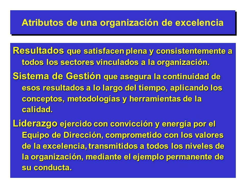 Atributos de una organización de excelencia Resultados que satisfacen plena y consistentemente a todos los sectores vinculados a la organización. Sist