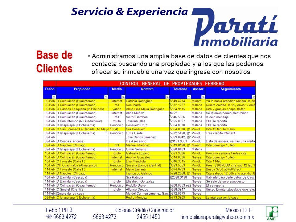 Base de Clientes Administramos una amplia base de datos de clientes que nos contacta buscando una propiedad y a los que les podemos ofrecer su inmueble una vez que ingrese con nosotros Febo 1 PH 3 Colonia Crédito Constructor México, D.
