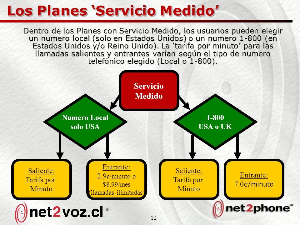 12 Los Planes Servicio Medido Dentro de los Planes con Servicio Medido, los usuarios pueden elegir un numero local (solo en Estados Unidos) o un numero 1-800 (en Estados Unidos y/o Reino Unido).
