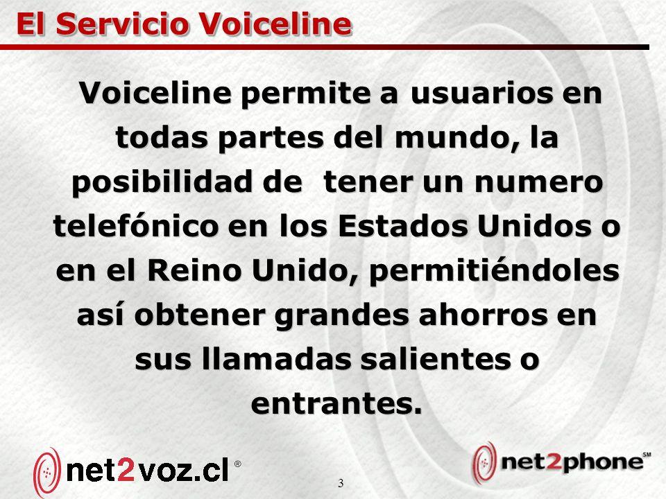 3 El Servicio Voiceline Voiceline permite a usuarios en todas partes del mundo, la posibilidad de tener un numero telefónico en los Estados Unidos o en el Reino Unido, permitiéndoles así obtener grandes ahorros en sus llamadas salientes o entrantes.