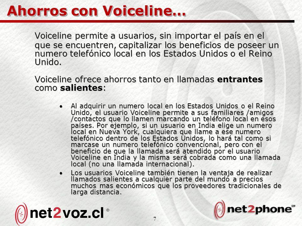 7 Ahorros con Voiceline… Voiceline permite a usuarios, sin importar el país en el que se encuentren, capitalizar los beneficios de poseer un numero telefónico local en los Estados Unidos o el Reino Unido.
