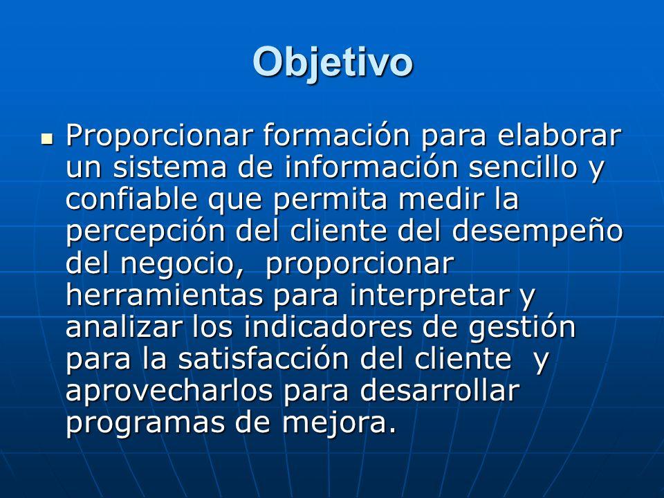 Objetivo Proporcionar formación para elaborar un sistema de información sencillo y confiable que permita medir la percepción del cliente del desempeño