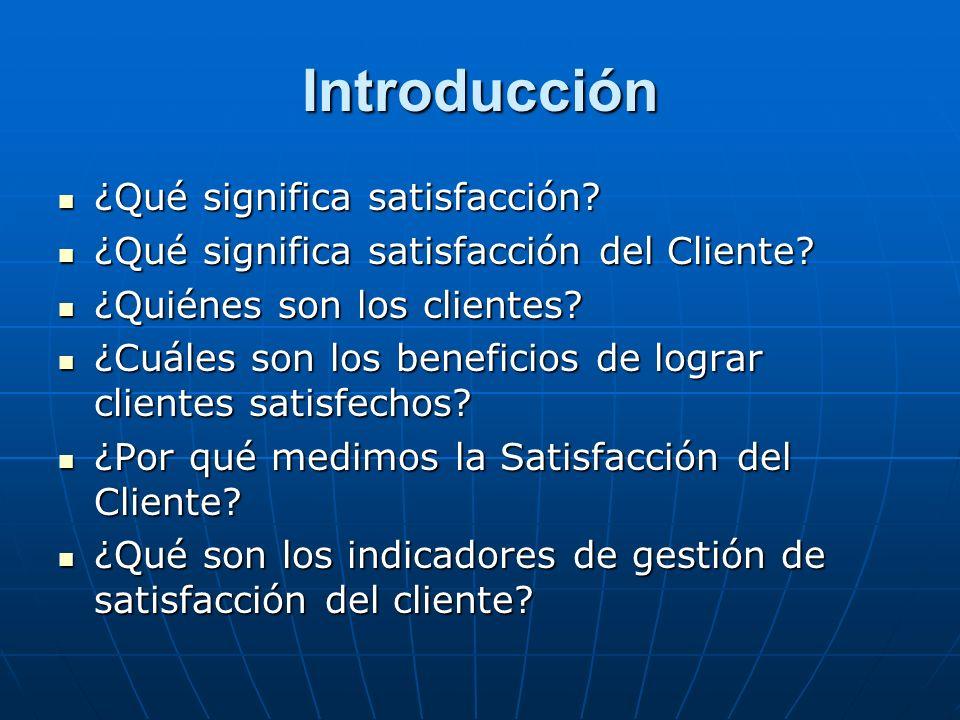Introducción ¿Qué significa satisfacción? ¿Qué significa satisfacción? ¿Qué significa satisfacción del Cliente? ¿Qué significa satisfacción del Client