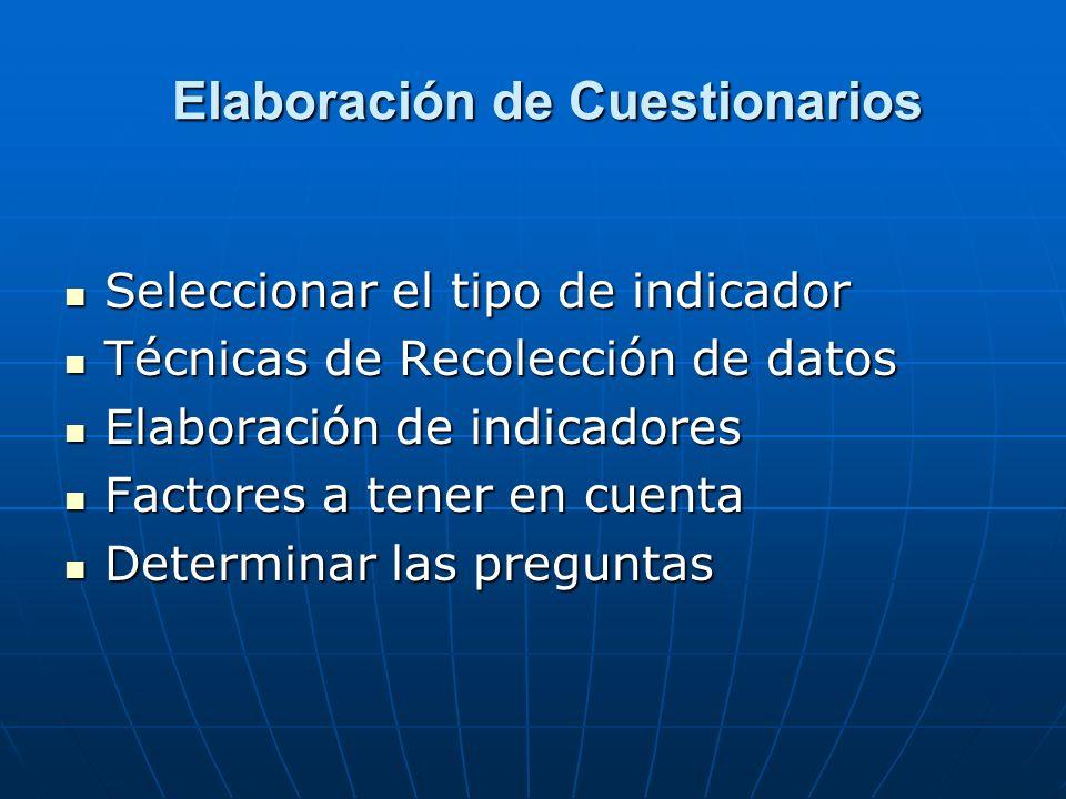 Elaboración de Cuestionarios Elaboración de Cuestionarios Seleccionar el tipo de indicador Seleccionar el tipo de indicador Técnicas de Recolección de