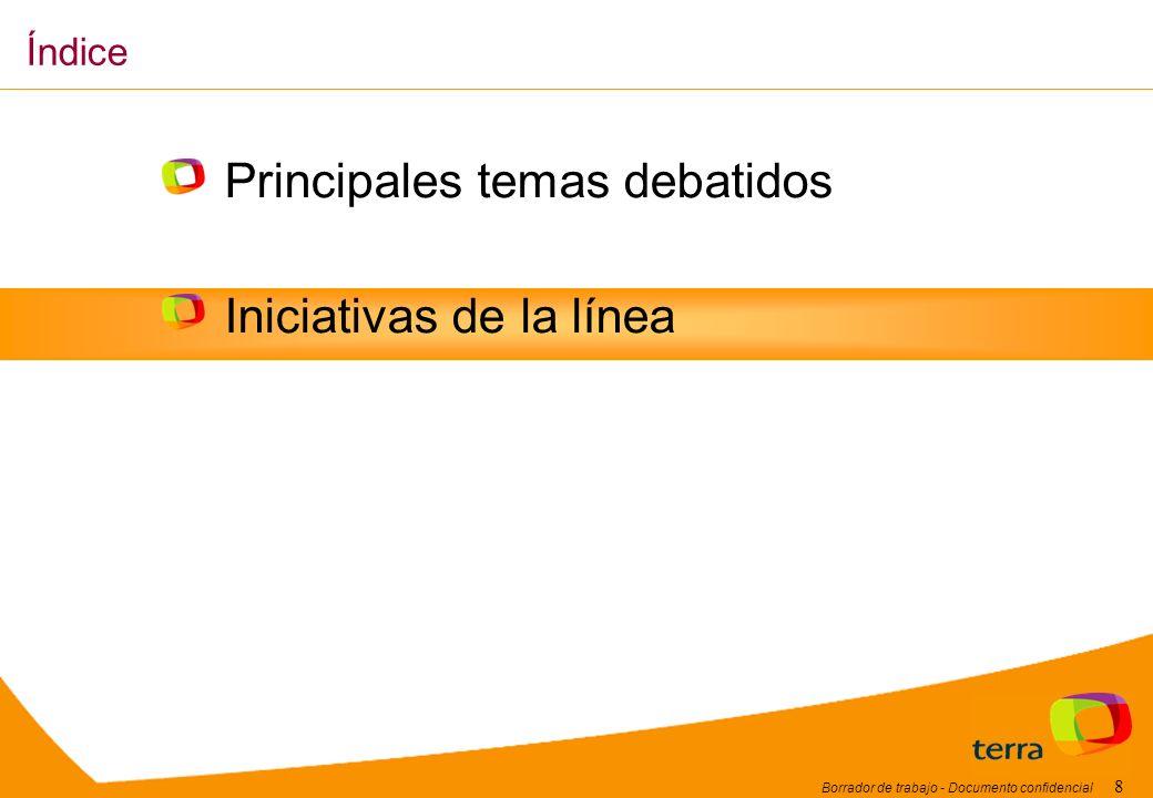 Borrador de trabajo - Documento confidencial 8 Principales temas debatidos Iniciativas de la línea Índice