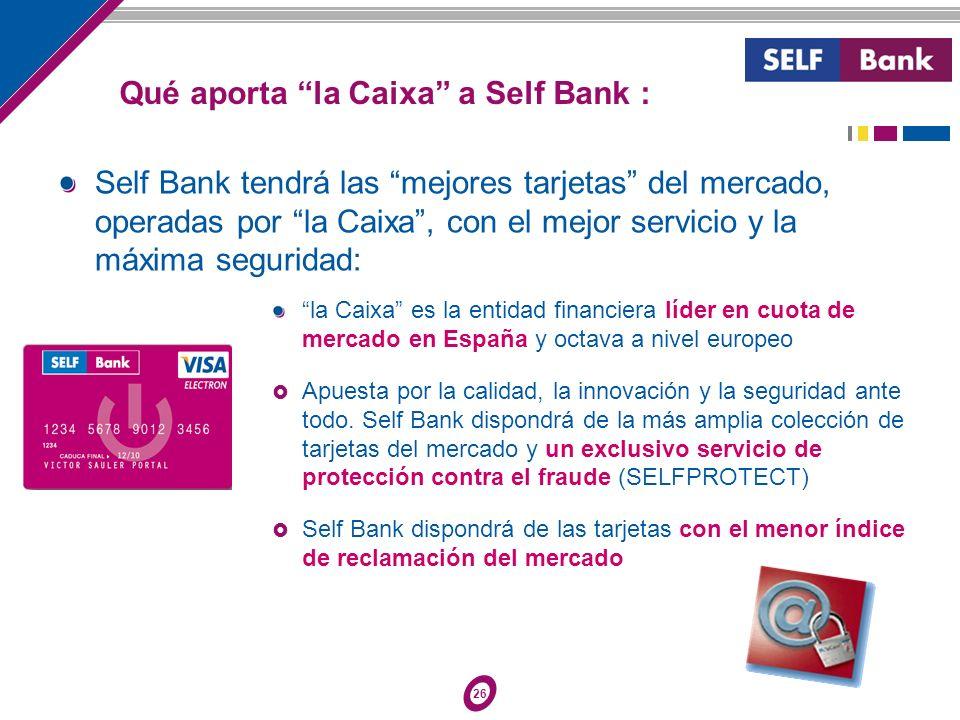 26 Self Bank tendrá las mejores tarjetas del mercado, operadas por la Caixa, con el mejor servicio y la máxima seguridad: la Caixa es la entidad finan