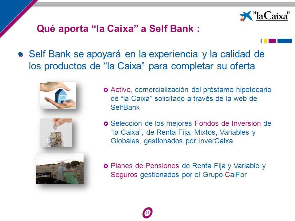 27 Activo, comercialización del préstamo hipotecario de la Caixa solicitado a través de la web de SelfBank Selección de los mejores Fondos de Inversió