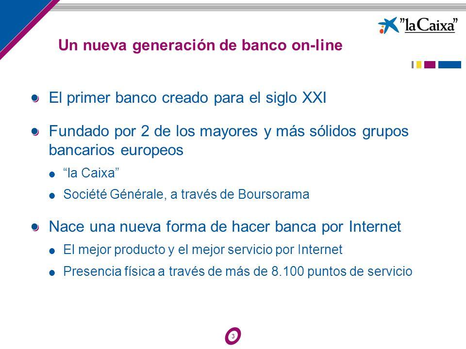 3 Un nueva generación de banco on-line El primer banco creado para el siglo XXI Fundado por 2 de los mayores y más sólidos grupos bancarios europeos l