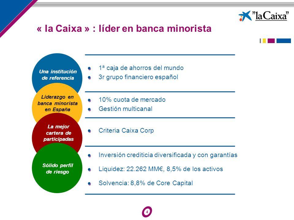 4 Una institución de referencia Liderazgo en banca minorista en España La mejor cartera de participadas Sólido perfil de riesgo « la Caixa » : líder e