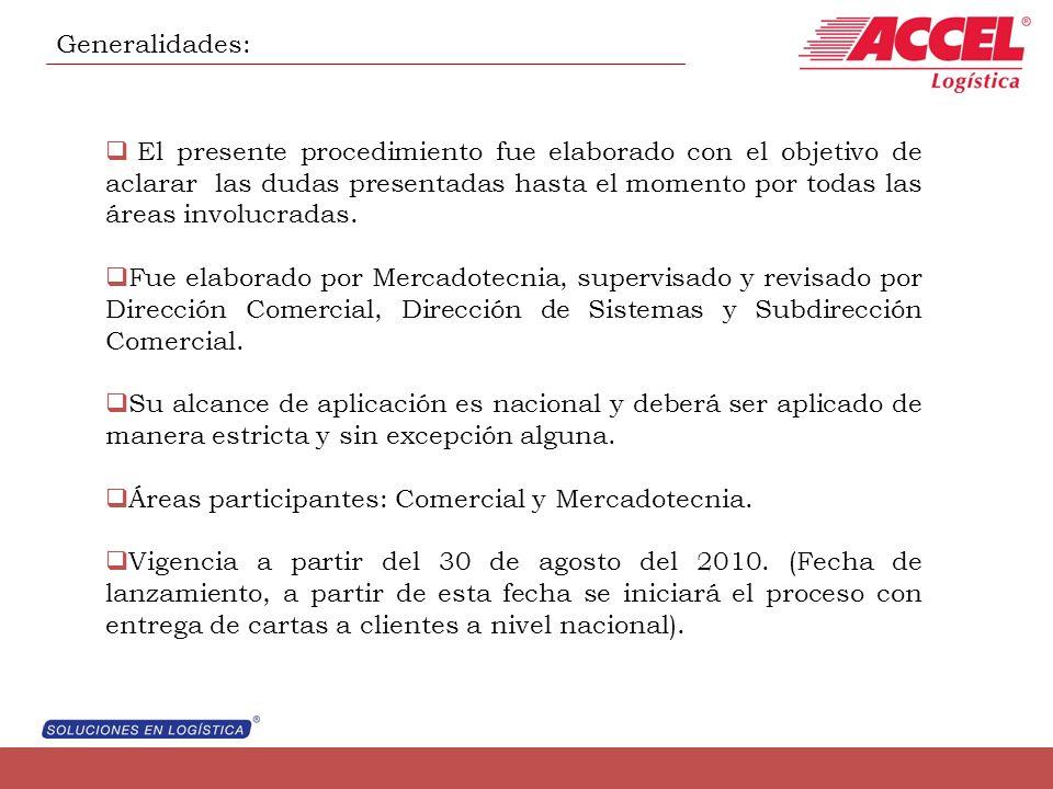 Generalidades: El presente procedimiento fue elaborado con el objetivo de aclarar las dudas presentadas hasta el momento por todas las áreas involucra