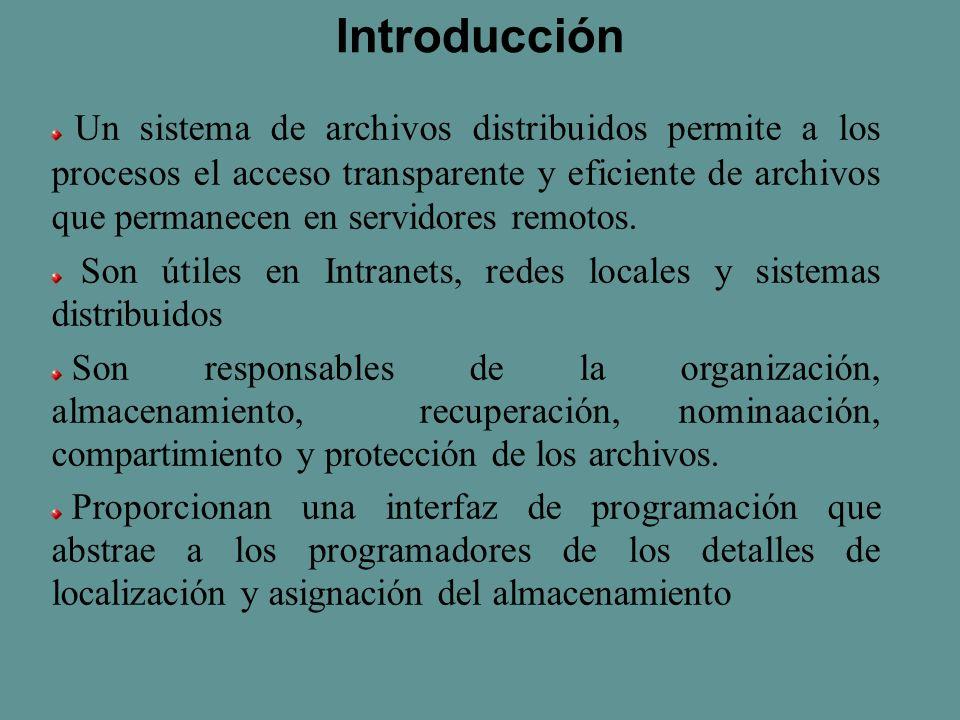 Introducción Un sistema de archivos distribuidos permite a los procesos el acceso transparente y eficiente de archivos que permanecen en servidores remotos.