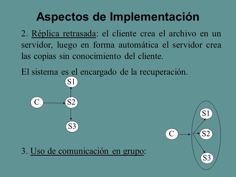 2. Réplica retrasada: el cliente crea el archivo en un servidor, luego en forma automática el servidor crea las copias sin conocimiento del cliente. E