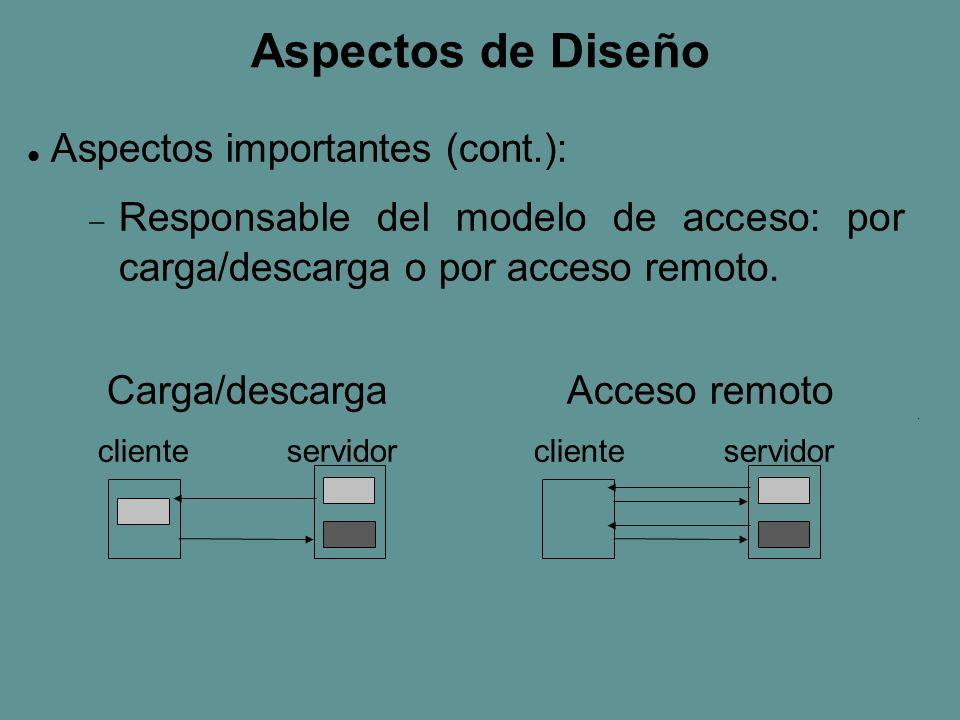 Aspectos de Diseño Aspectos importantes (cont.): Responsable del modelo de acceso: por carga/descarga o por acceso remoto.