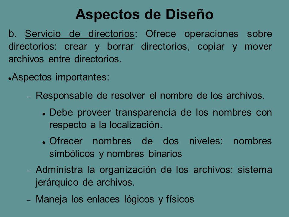 Nombre simbólico Cliente Servidor de directorio Nombre binario Servidor de archivos Acceso a archivos con servidores de directorios y archivos separados