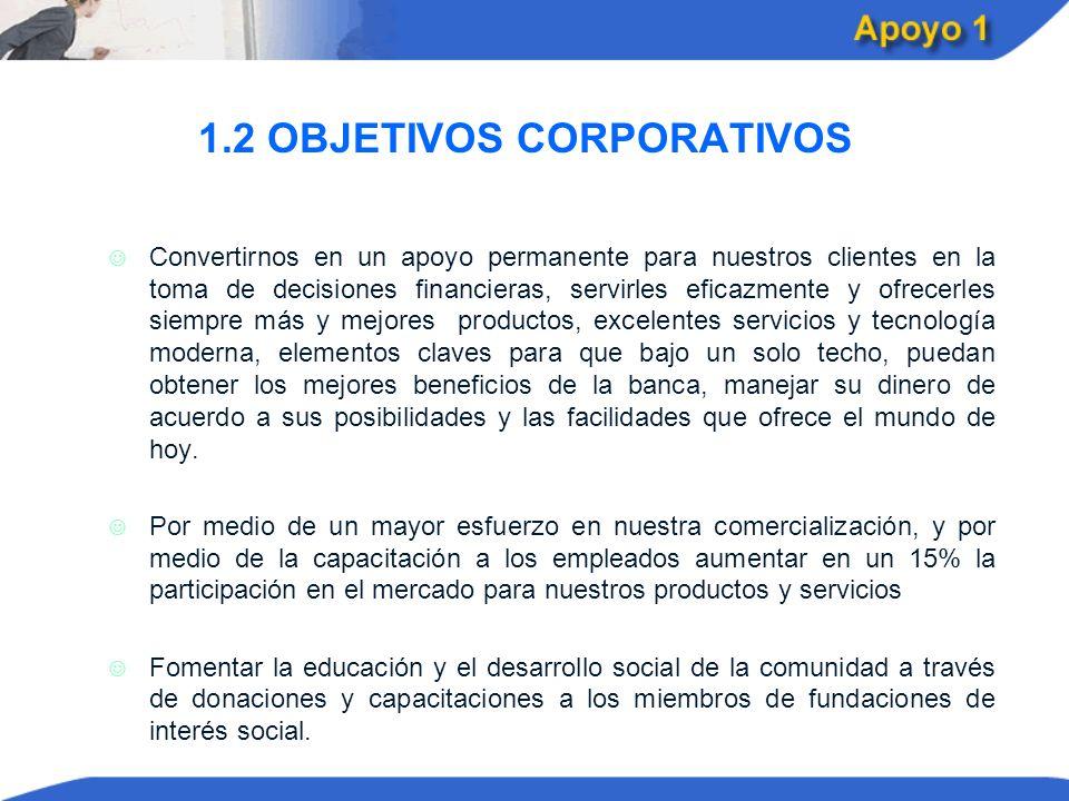1.2 OBJETIVOS CORPORATIVOS J J Convertirnos en un apoyo permanente para nuestros clientes en la toma de decisiones financieras, servirles eficazmente