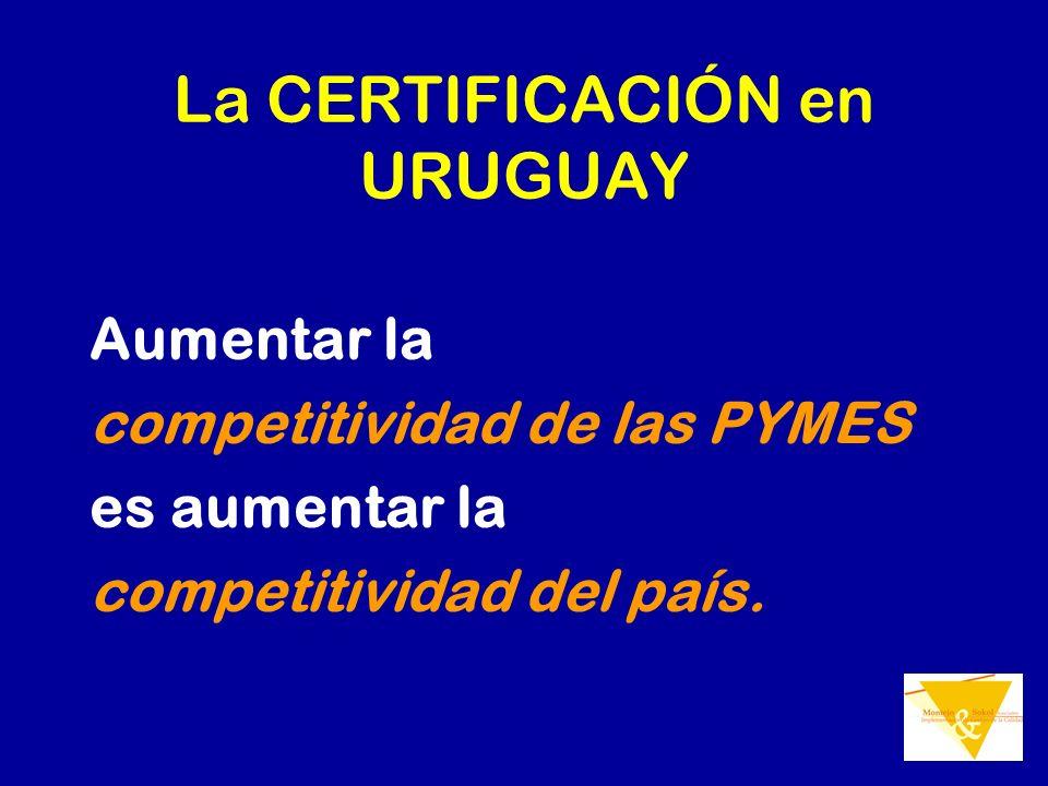 La CERTIFICACIÓN en URUGUAY Aumentar la competitividad de las PYMES es aumentar la competitividad del país.
