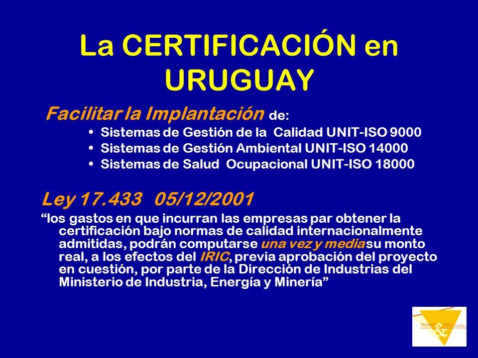 La CERTIFICACIÓN en URUGUAY Facilitar la Implantación de: Sistemas de Gestión de la Calidad UNIT-ISO 9000 Sistemas de Gestión Ambiental UNIT-ISO 14000