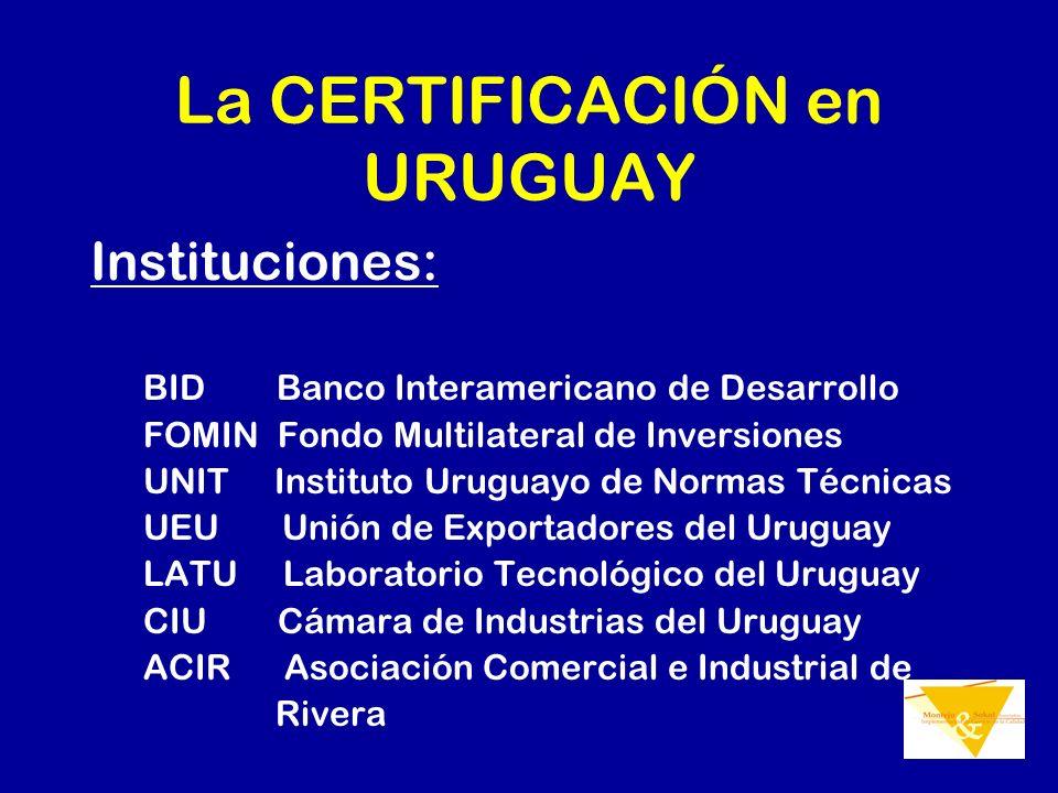 La CERTIFICACIÓN en URUGUAY Instituciones: BID Banco Interamericano de Desarrollo FOMIN Fondo Multilateral de Inversiones UNIT Instituto Uruguayo de N