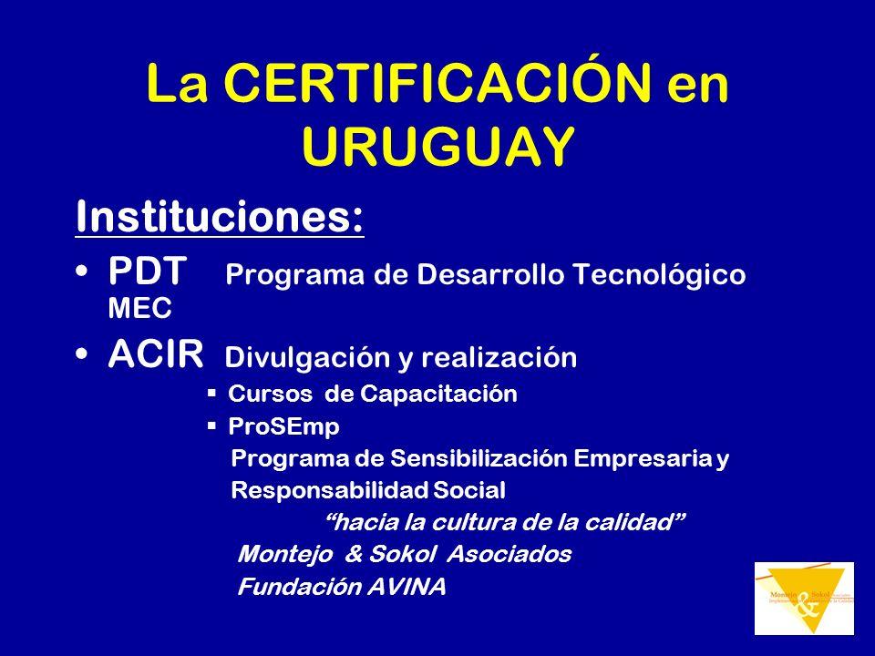 La CERTIFICACIÓN en URUGUAY Instituciones: PDT Programa de Desarrollo Tecnológico MEC ACIR Divulgación y realización Cursos de Capacitación ProSEmp Pr