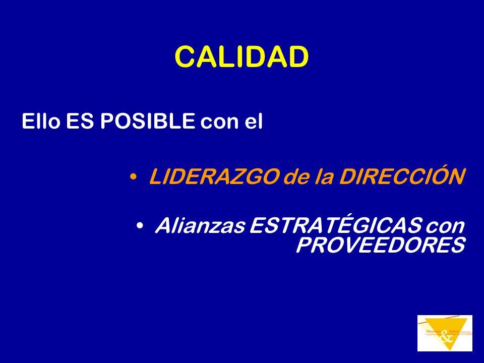 CALIDAD Ello ES POSIBLE con el LIDERAZGO de la DIRECCIÓN Alianzas ESTRATÉGICAS con PROVEEDORES