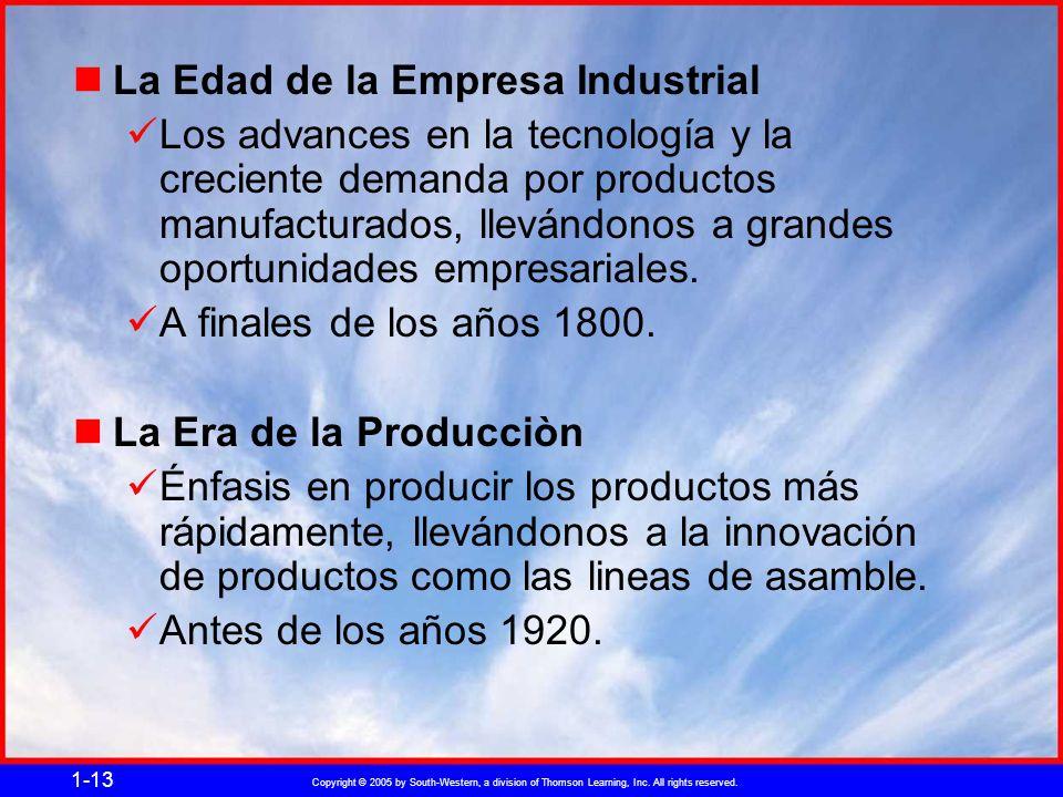 Copyright © 2005 by South-Western, a division of Thomson Learning, Inc. All rights reserved. 1-13 La Edad de la Empresa Industrial Los advances en la