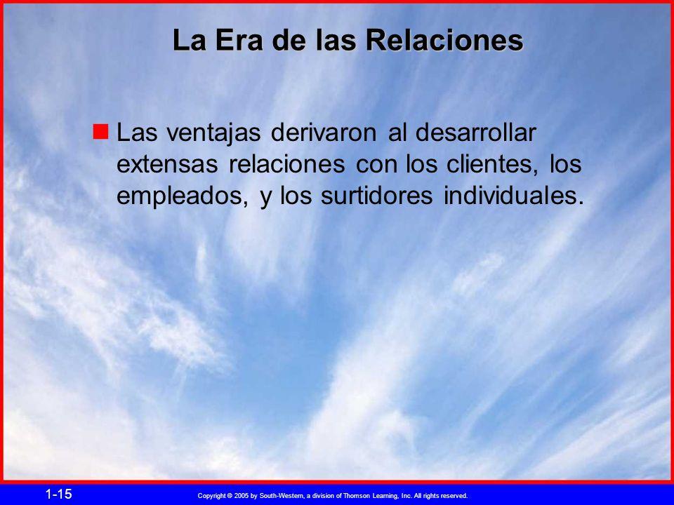 Copyright © 2005 by South-Western, a division of Thomson Learning, Inc. All rights reserved. 1-15 La Era de las Relaciones Las ventajas derivaron al d