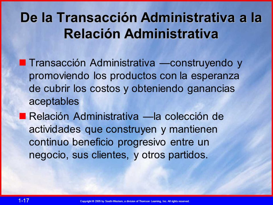 Copyright © 2005 by South-Western, a division of Thomson Learning, Inc. All rights reserved. 1-17 De la Transacción Administrativa a la Relación Admin