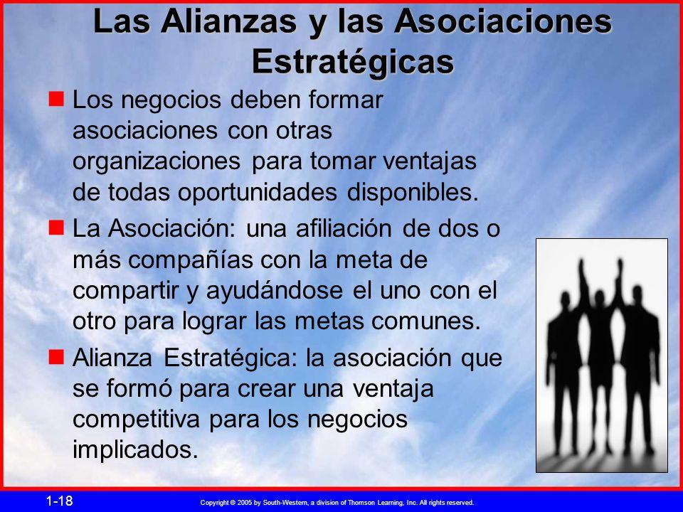 Copyright © 2005 by South-Western, a division of Thomson Learning, Inc. All rights reserved. 1-18 Las Alianzas y las Asociaciones Estratégicas Los neg