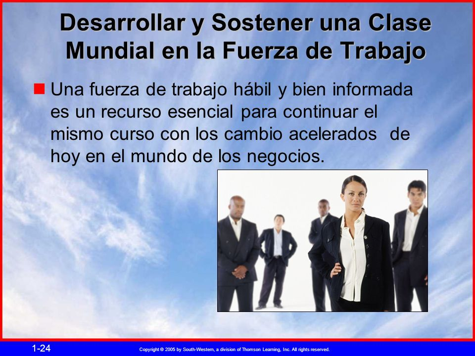 Copyright © 2005 by South-Western, a division of Thomson Learning, Inc. All rights reserved. 1-24 Desarrollar y Sostener una Clase Mundial en la Fuerz