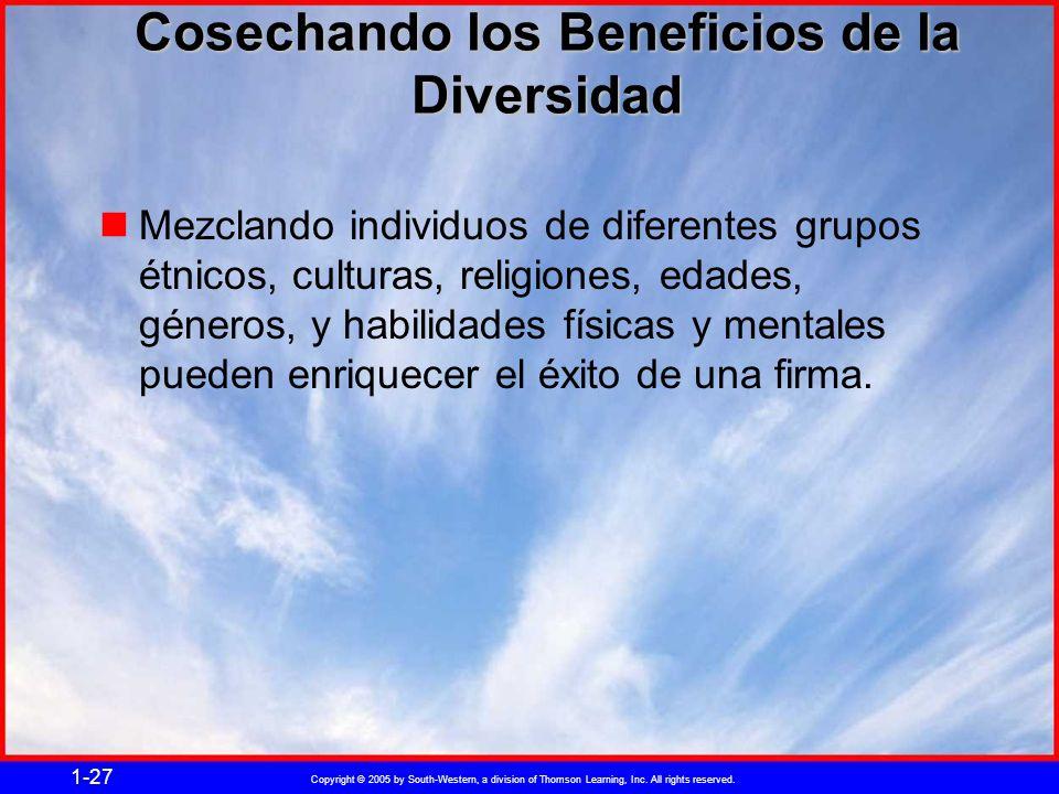 Copyright © 2005 by South-Western, a division of Thomson Learning, Inc. All rights reserved. 1-27 Cosechando los Beneficios de la Diversidad Mezclando