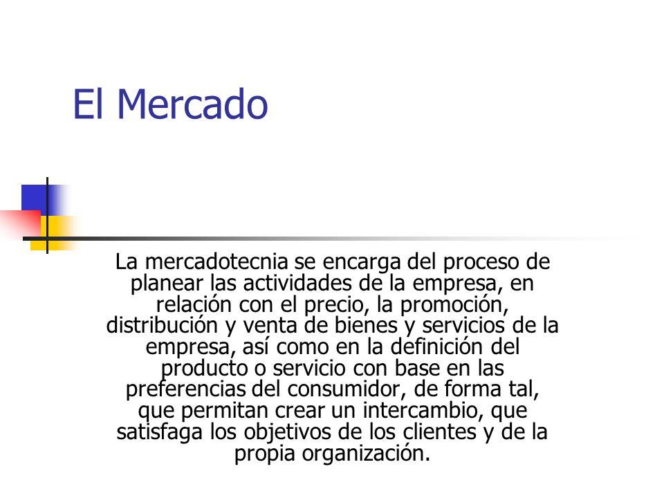 El Mercado La mercadotecnia se encarga del proceso de planear las actividades de la empresa, en relación con el precio, la promoción, distribución y venta de bienes y servicios de la empresa, así como en la definición del producto o servicio con base en las preferencias del consumidor, de forma tal, que permitan crear un intercambio, que satisfaga los objetivos de los clientes y de la propia organización.