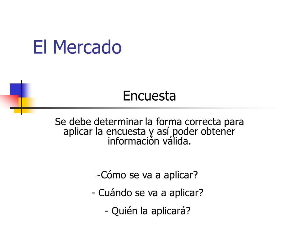 El Mercado Encuesta Se debe determinar la forma correcta para aplicar la encuesta y así poder obtener información válida.
