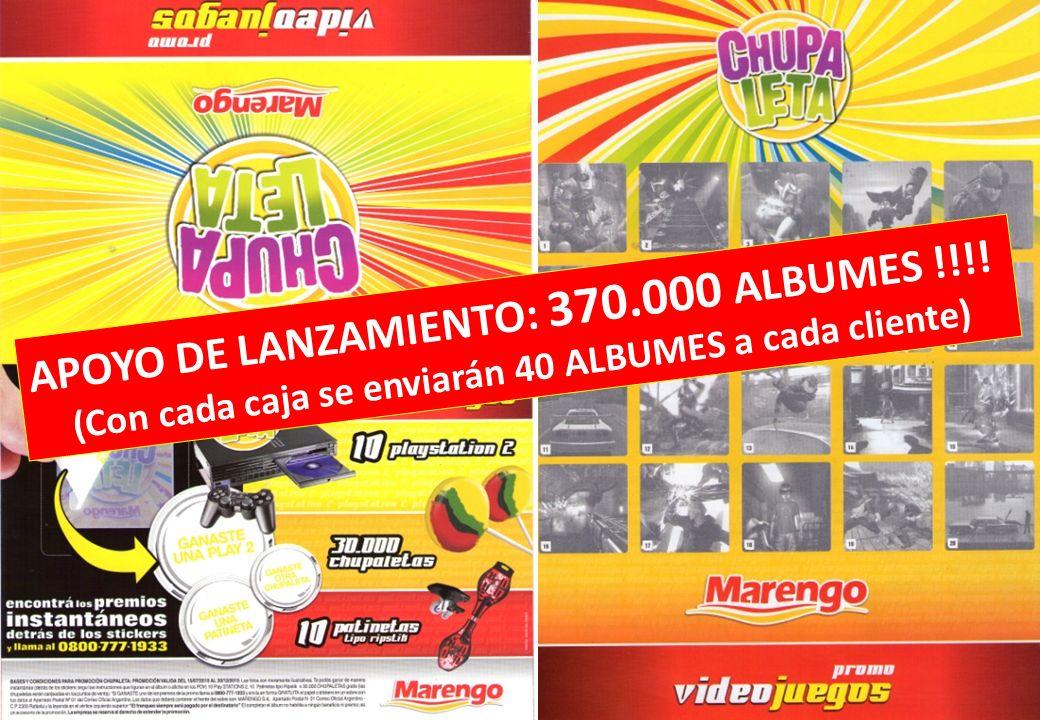 APOYO DE LANZAMIENTO: 370.000 ALBUMES !!!! (Con cada caja se enviarán 40 ALBUMES a cada cliente)