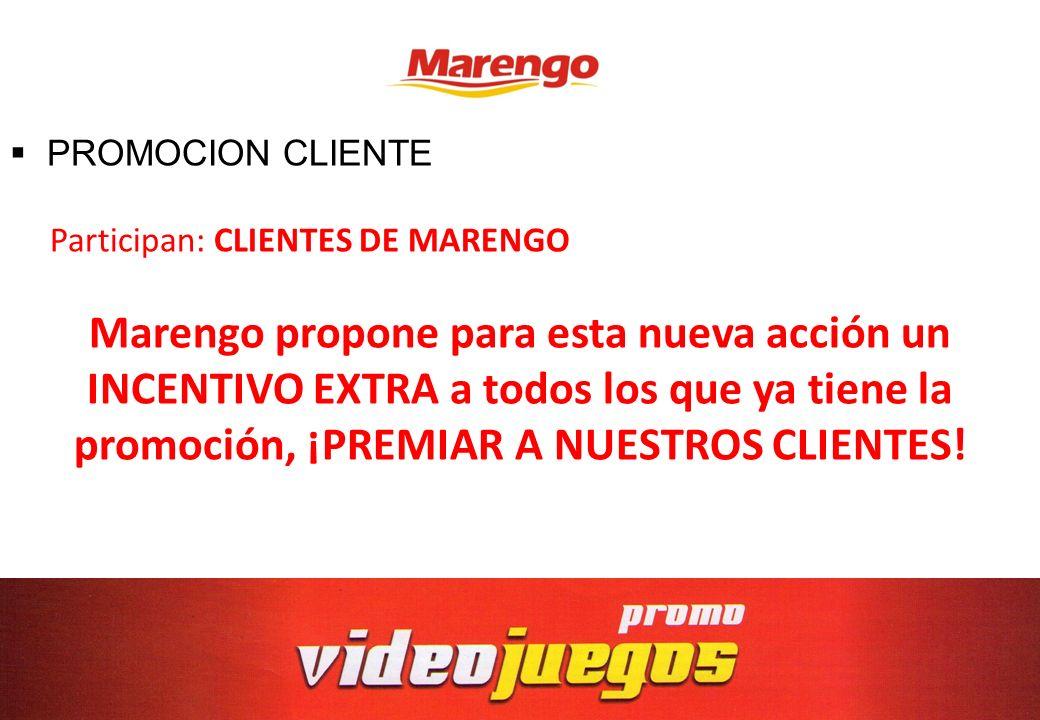 PROMOCION CLIENTE Participan: CLIENTES DE MARENGO Marengo propone para esta nueva acción un INCENTIVO EXTRA a todos los que ya tiene la promoción, ¡PR