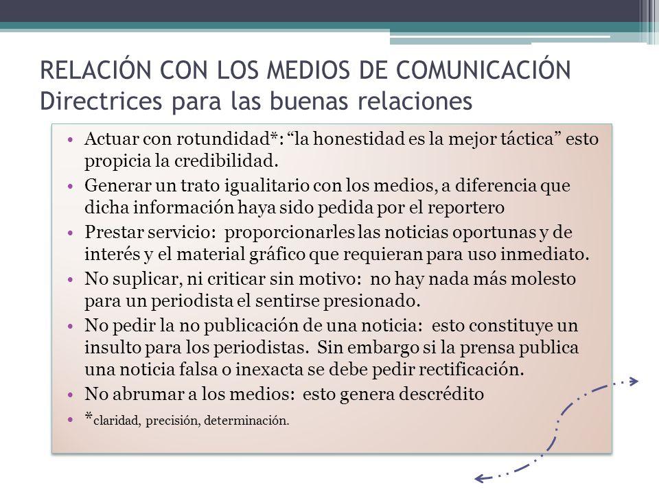 RELACIÓN CON LOS MEDIOS DE COMUNICACIÓN Directrices para las buenas relaciones Actuar con rotundidad*: la honestidad es la mejor táctica esto propicia