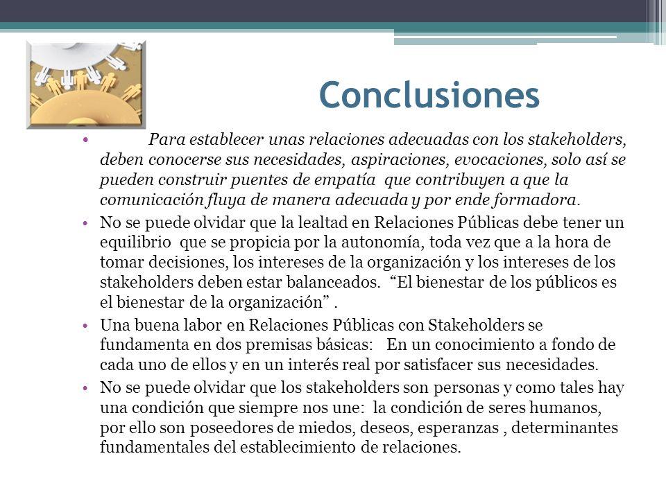 Conclusiones Para establecer unas relaciones adecuadas con los stakeholders, deben conocerse sus necesidades, aspiraciones, evocaciones, solo así se p