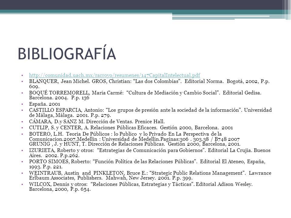 BIBLIOGRAFÍA http://comunidad.uach.mx/rarroyo/resumenes/147CapitalIntelectual.pdf BLANQUER, Jean Michel. GROS, Christian: Las dos Colombias. Editorial