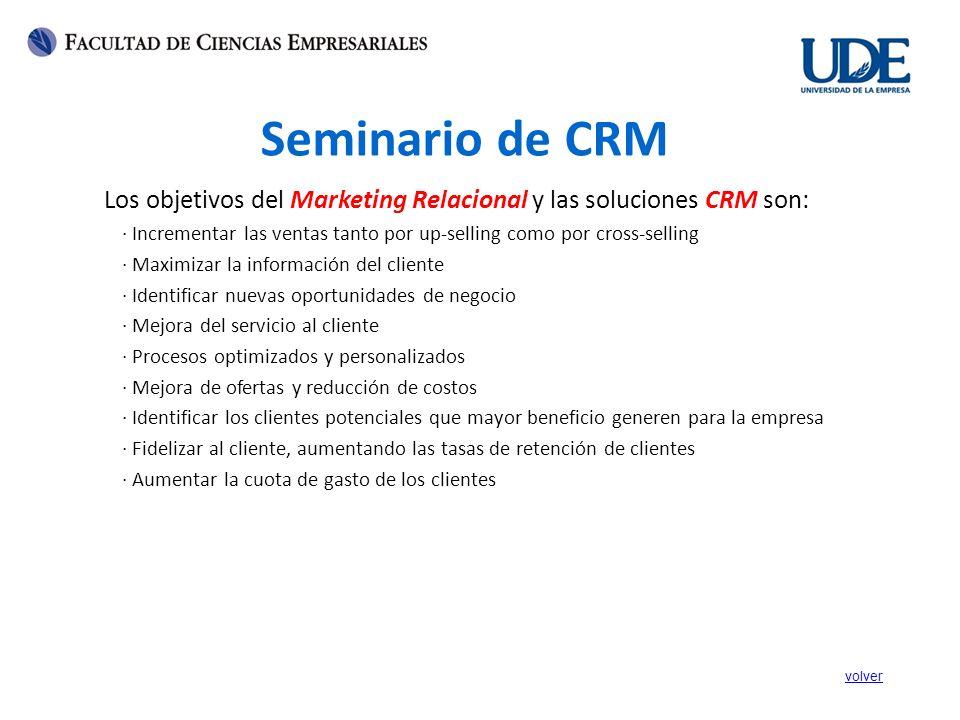 Seminario de CRM Los objetivos del Marketing Relacional y las soluciones CRM son: · Incrementar las ventas tanto por up-selling como por cross-selling